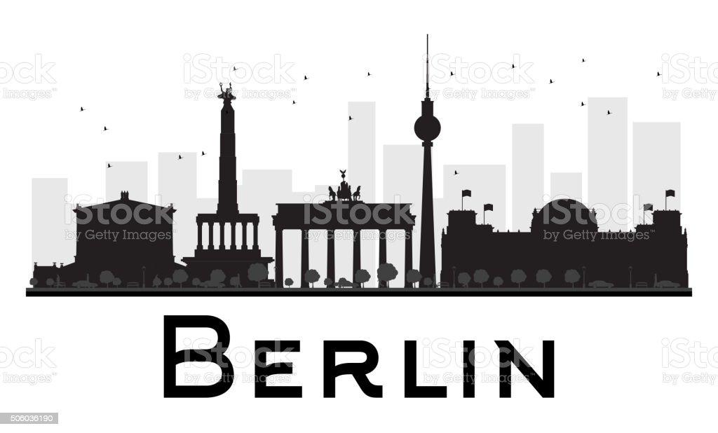 Berlin City skyline black and white silhouette. vector art illustration