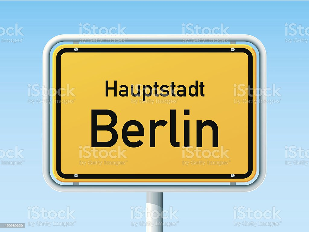 Berlin German City Road Sign royalty-free stock vector art