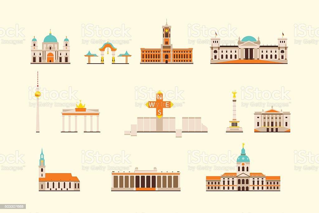 Berlin historical building vector art illustration