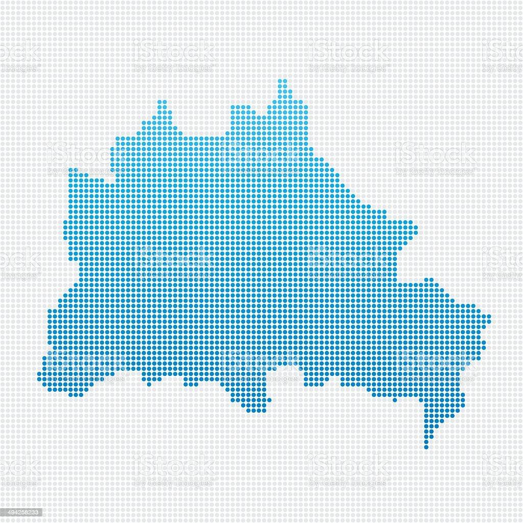 Berlin Map Blue Dot Pattern vector art illustration