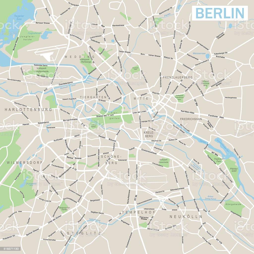 Berlin Map vector art illustration