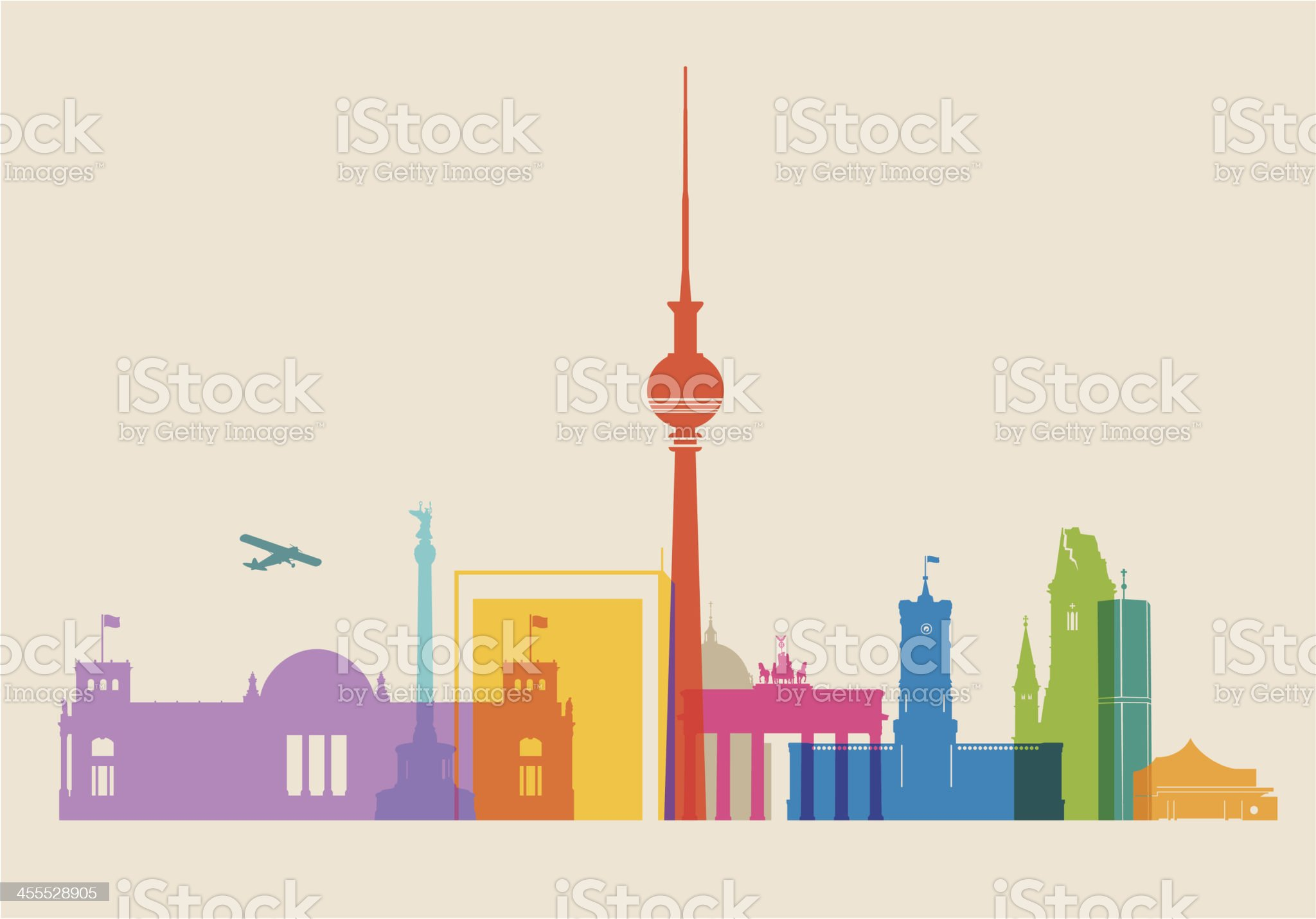 Berlin Skyline colored royalty-free stock vector art