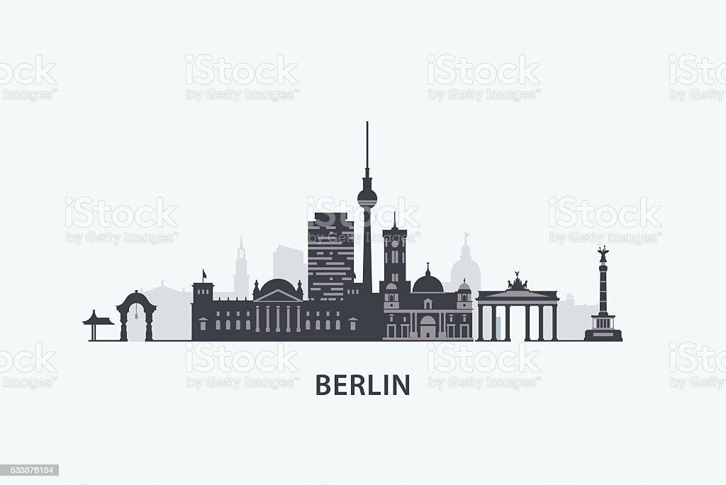 Berlin skyline silhouette vector art illustration