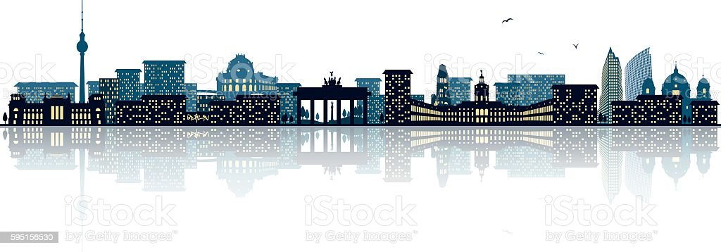 berlin skyline vector art illustration