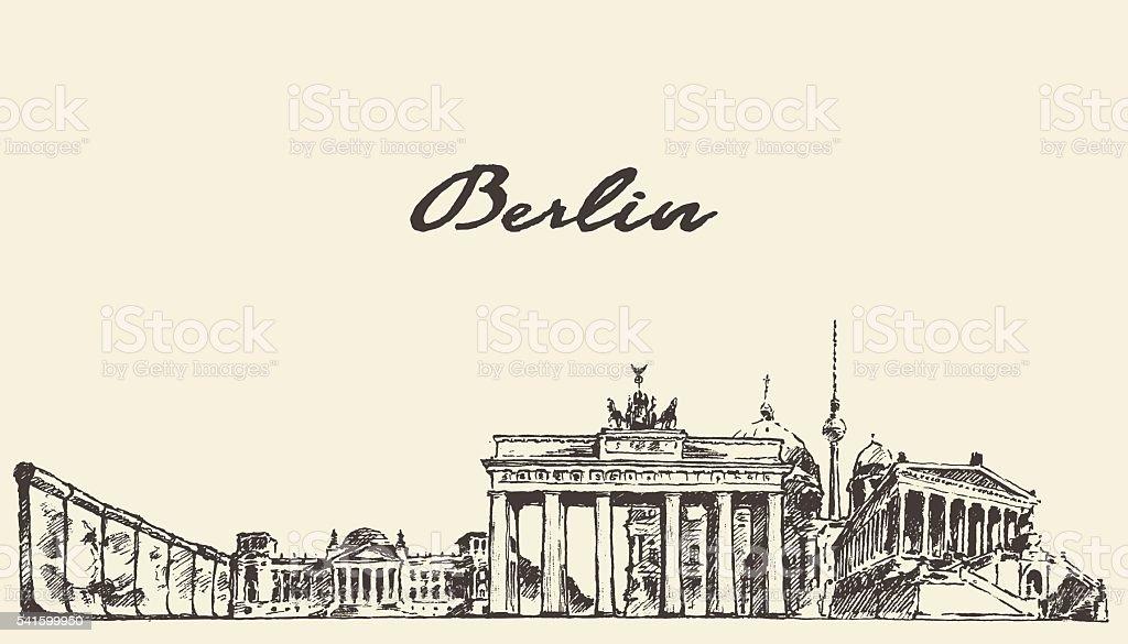 Berlin skyline vector illustration drawn sketch vector art illustration