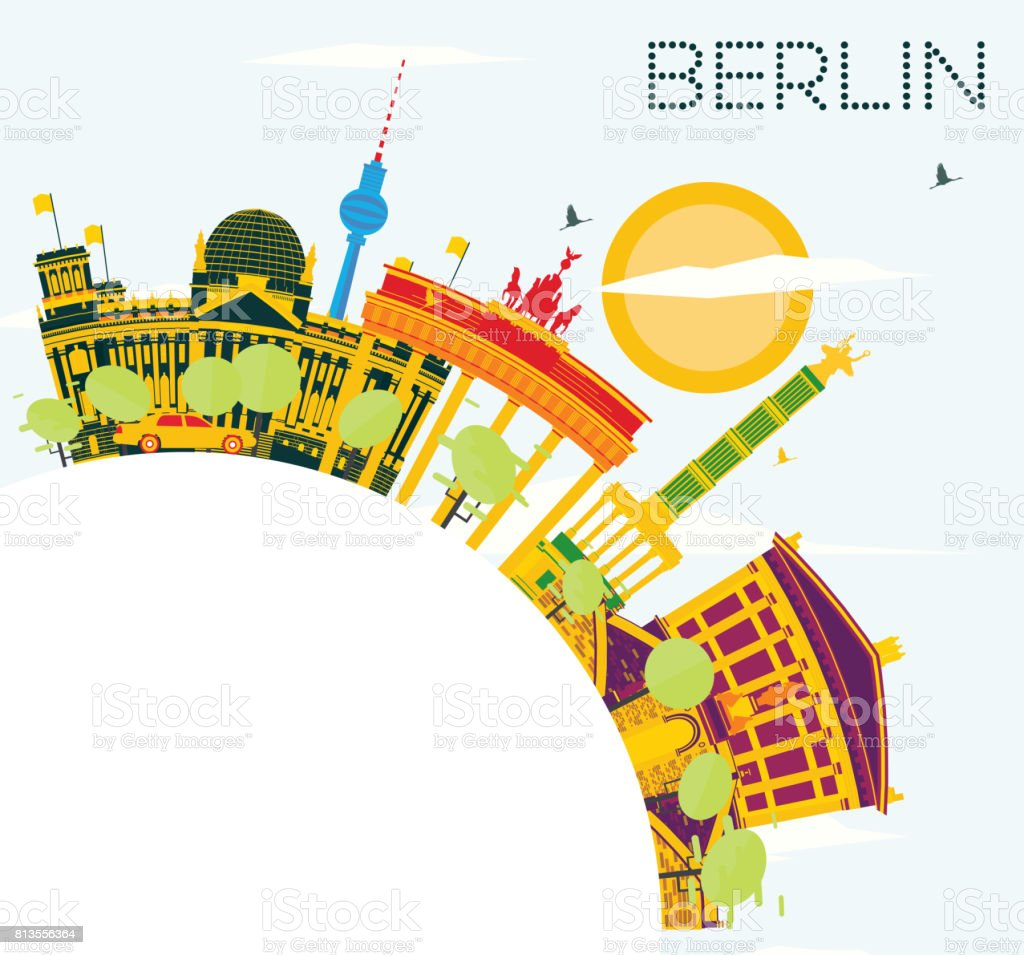 Outline athens skyline with blue buildings and copy space stock vector - Berlin Skyline With Color Buildings Blue Sky And Copy Space Royalty Free Stock