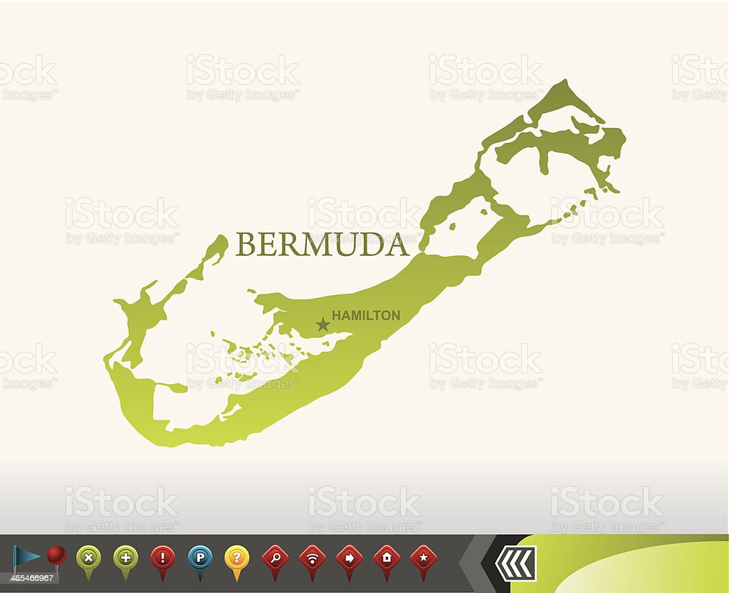 Bermuda map with navigation icons royalty-free stock vector art