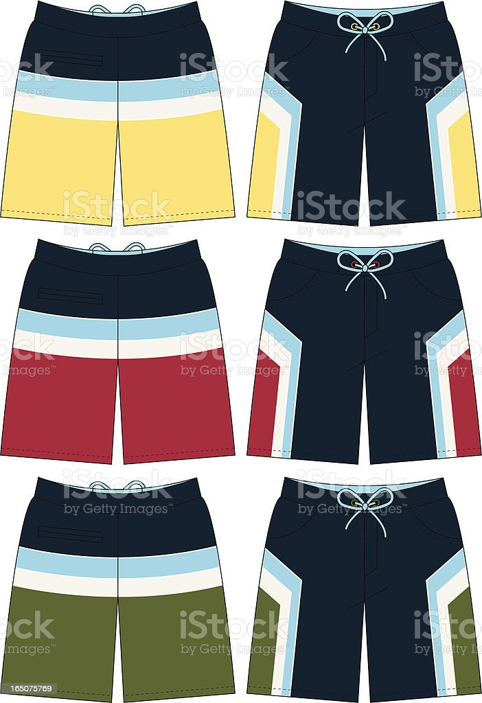 Bermuda Style Board Short with Strip Detail vector art illustration