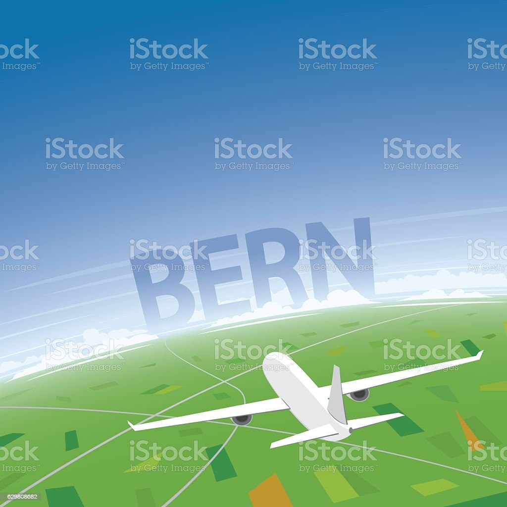 Bern Flight Destination vector art illustration