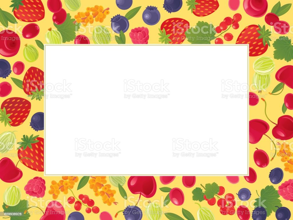 Berries background vector art illustration