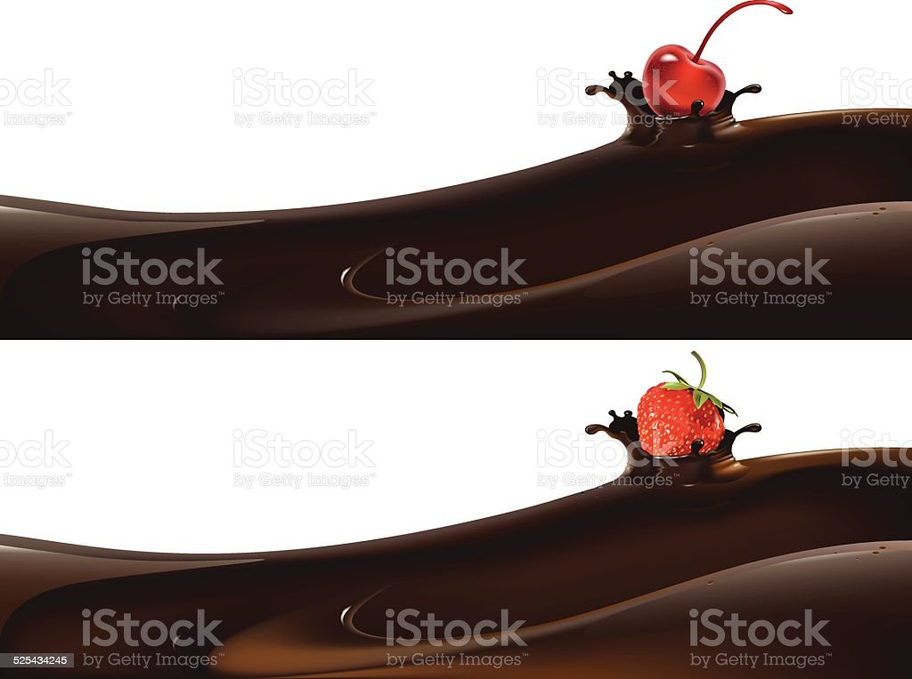 berries in chocolate vector art illustration