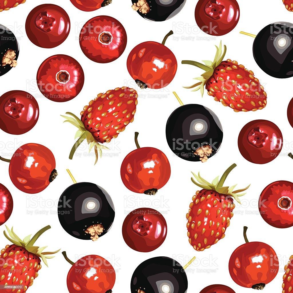 Berries mix pattern seamless vector art illustration