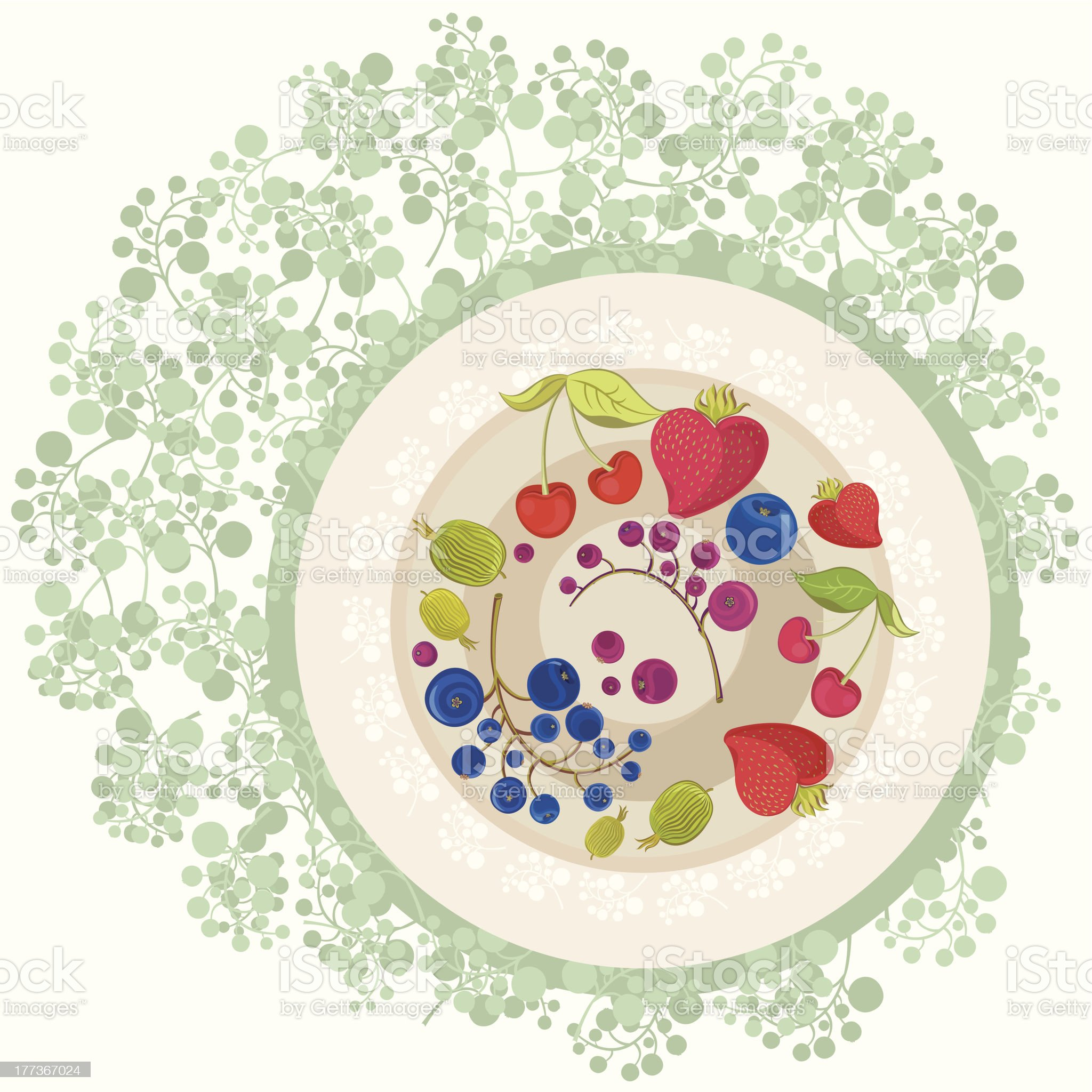 Berries on the Plate royalty-free stock vector art