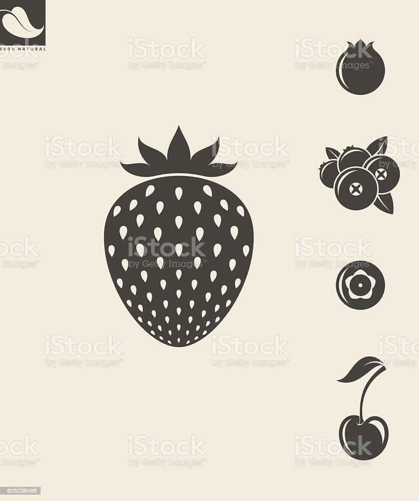 Berries. Set vector art illustration