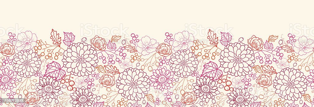 Berry Bouquet Lineart Horizontal Seamless Pattern Ornament royalty-free stock vector art
