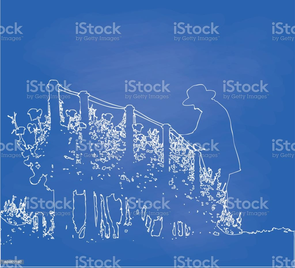 Berry Bush Harvest vector art illustration