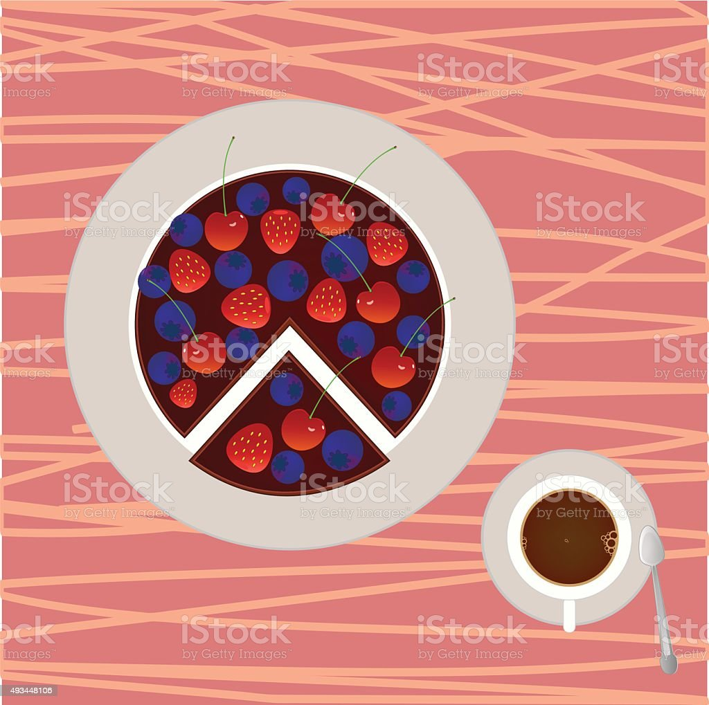 Berry cake with cup of coffee vector art illustration