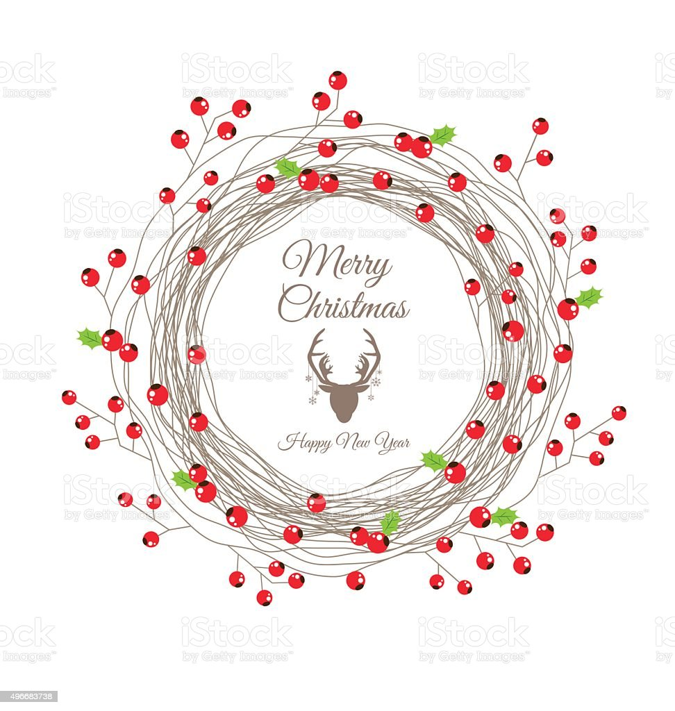 Berry Christmas Wreath for Happy new year card vector art illustration