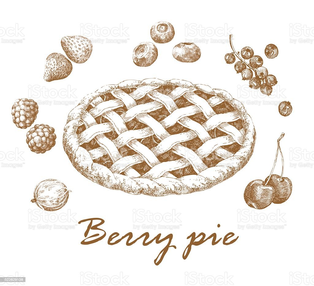Berry pie vector art illustration