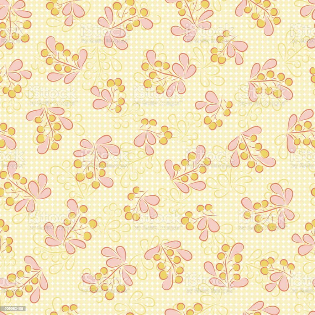 Berry sprigs. Floral seamless pattern. Foliage background. vector art illustration