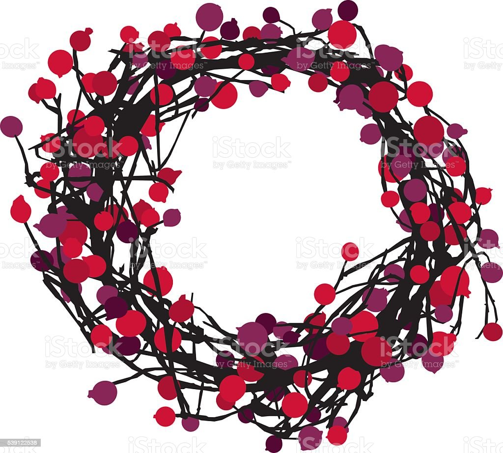 Berry Wreath Silhouette vector art illustration