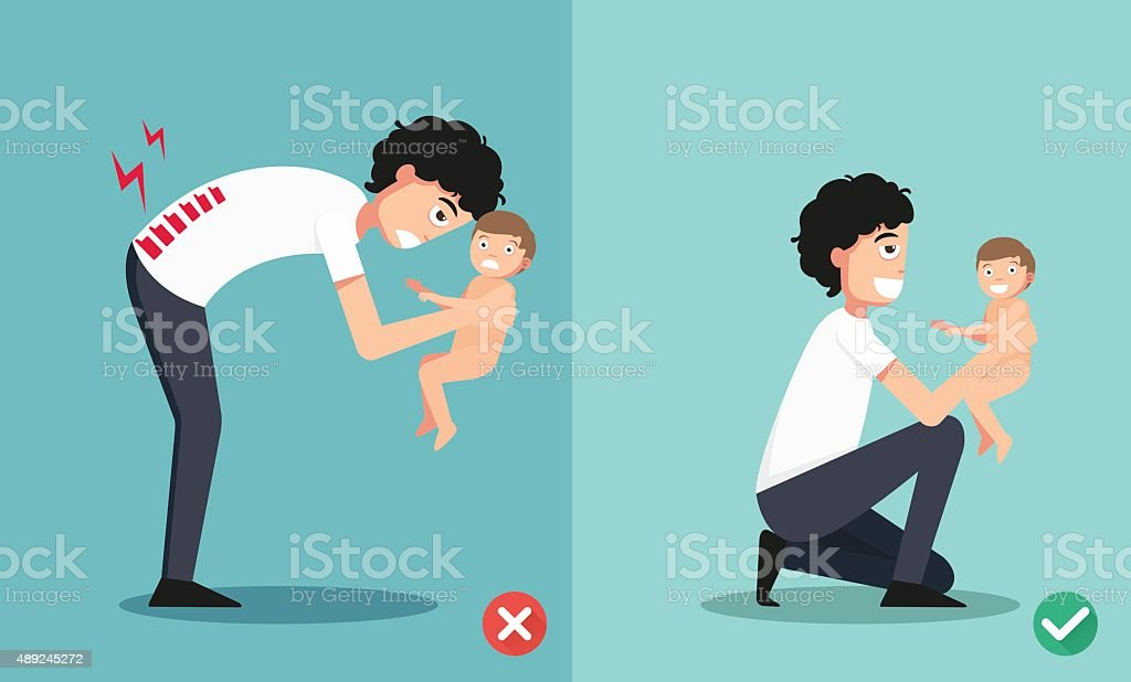 Best and worst positions for holding little baby vector art illustration