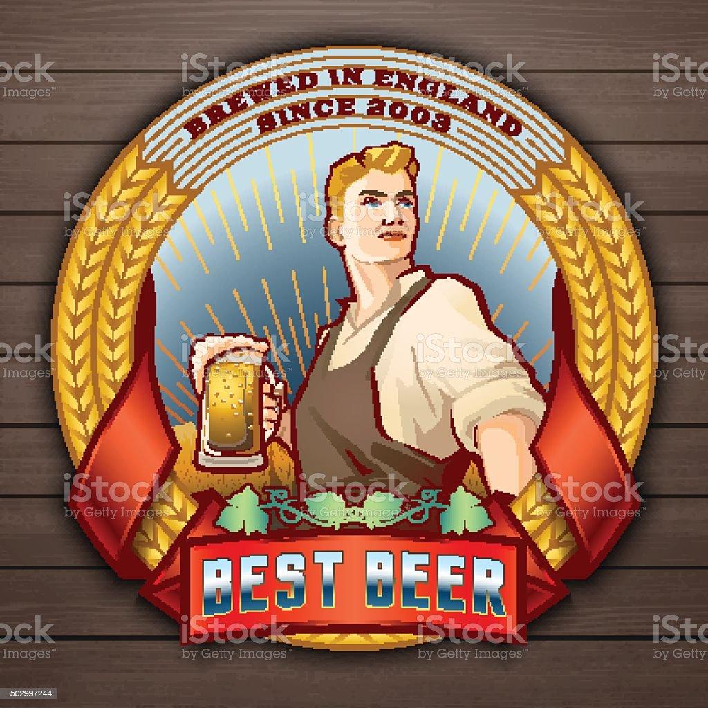 Best beer 2 vector art illustration