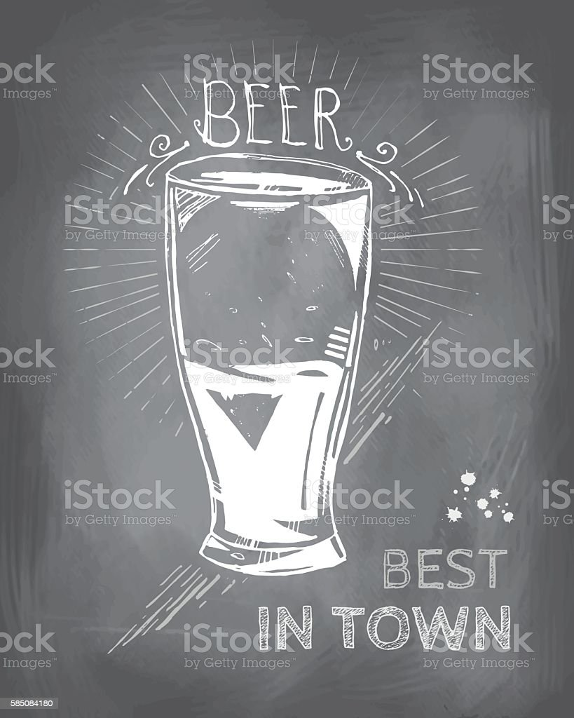 Best beer in town vector art illustration