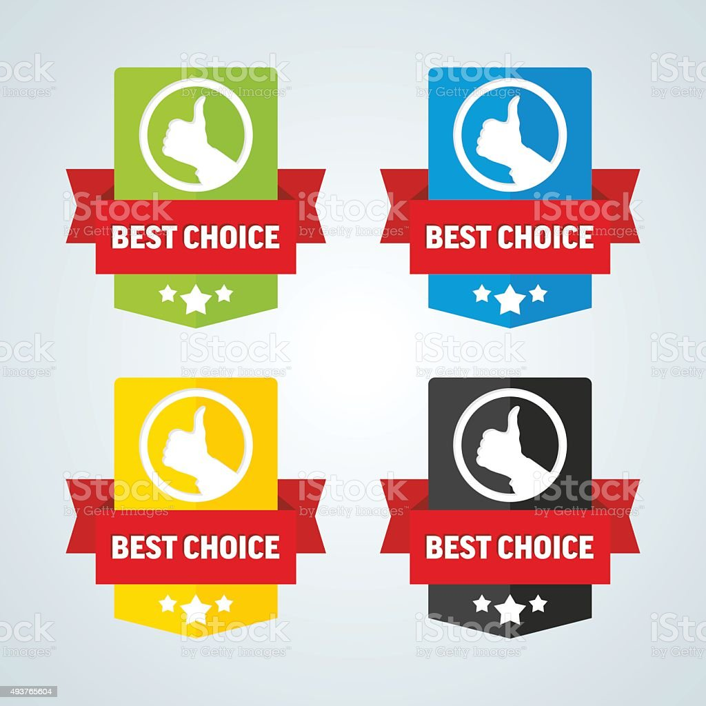 Best choice badge with red ribbon. Different colors. Vector illustration. vector art illustration