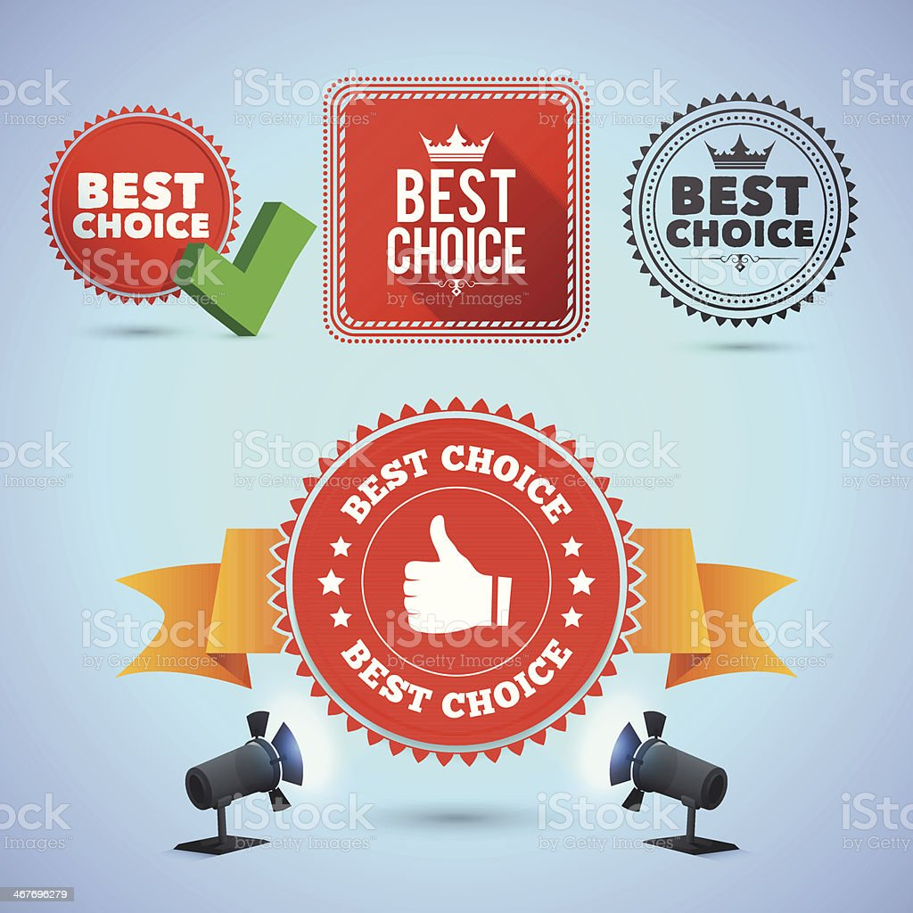 Best Choice promo elements royalty-free stock vector art