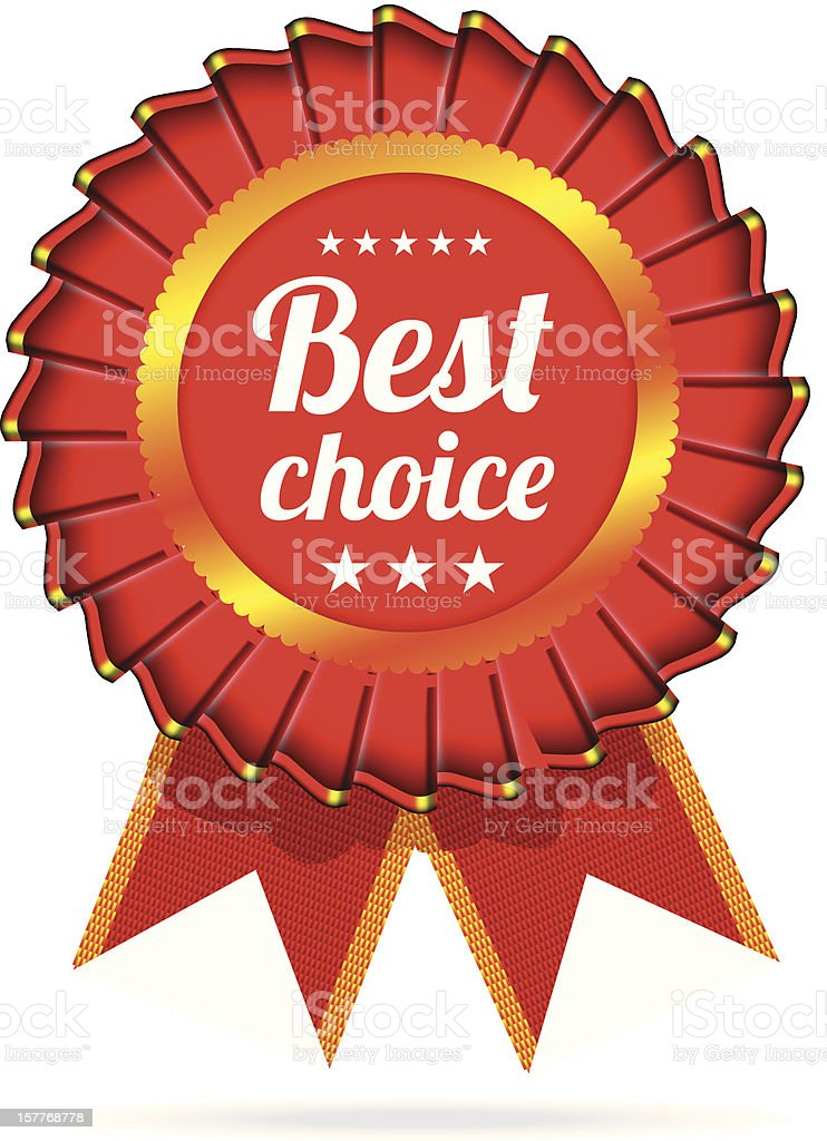 Best choice red label with ribbons royalty-free stock vector art