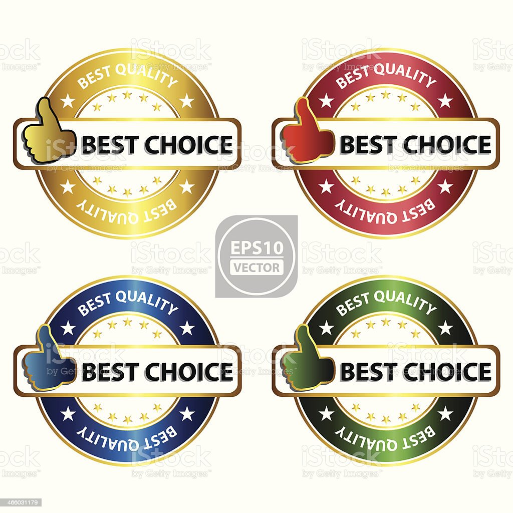best choice sticker, icon, sign with gesture hand. royalty-free stock vector art