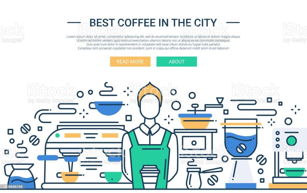 Best Coffee Shop In the City - website banner vector art illustration