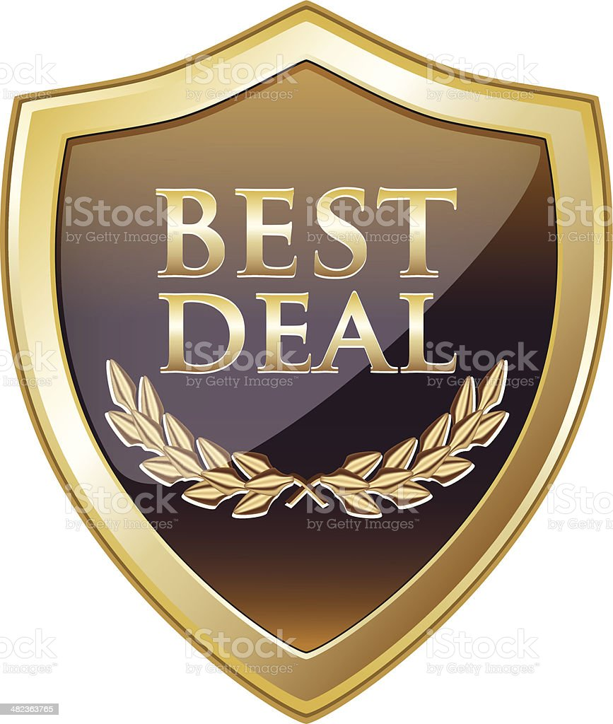 Best Deal Gold Shield royalty-free stock vector art