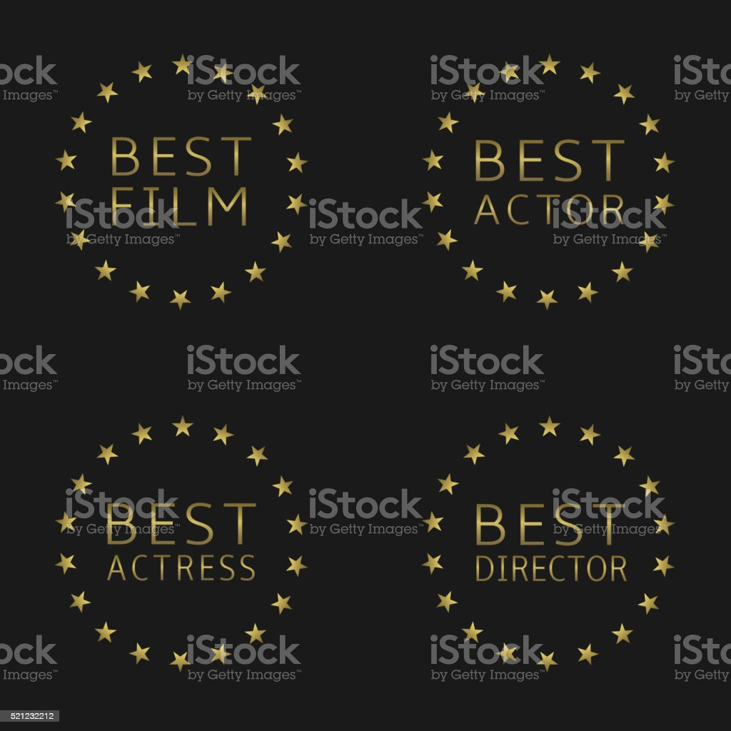 Best film labels vector art illustration