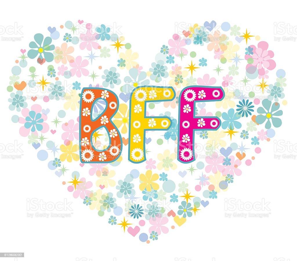 BFF. Best Friends Forever. Greeting card. vector art illustration