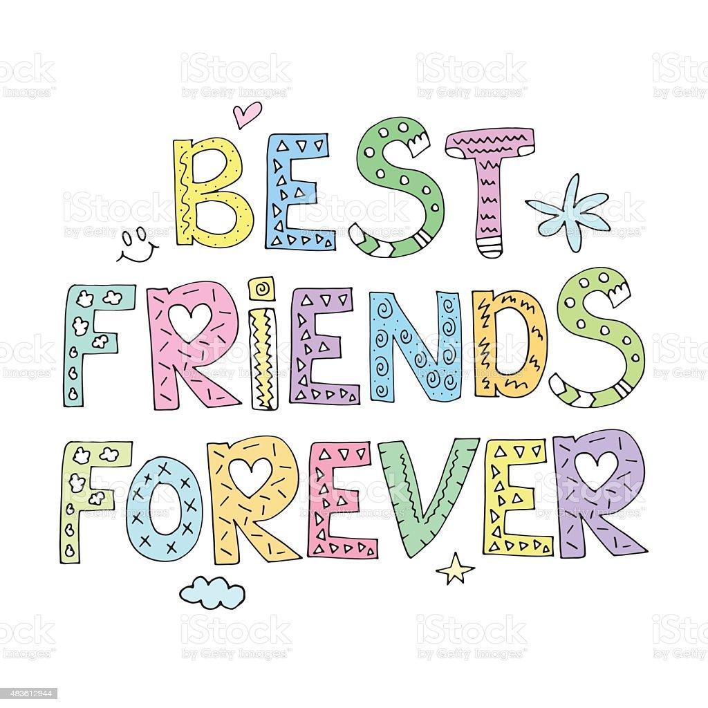 Best Friends Forever vector art illustration