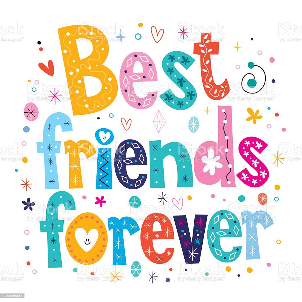 Best friends forever vector art illustration