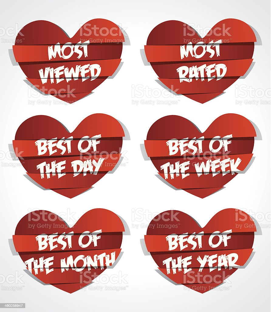 Best Of Red Abstract Heart Sticker royalty-free stock vector art