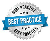 best practice 3d silver badge with blue ribbon