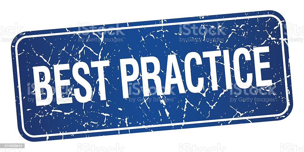 best practice blue square grunge textured isolated stamp vector art illustration
