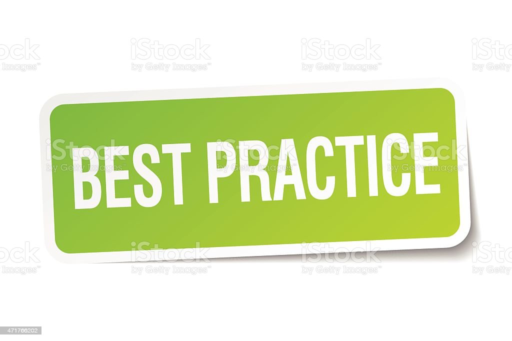 best practice green square sticker on white background vector art illustration
