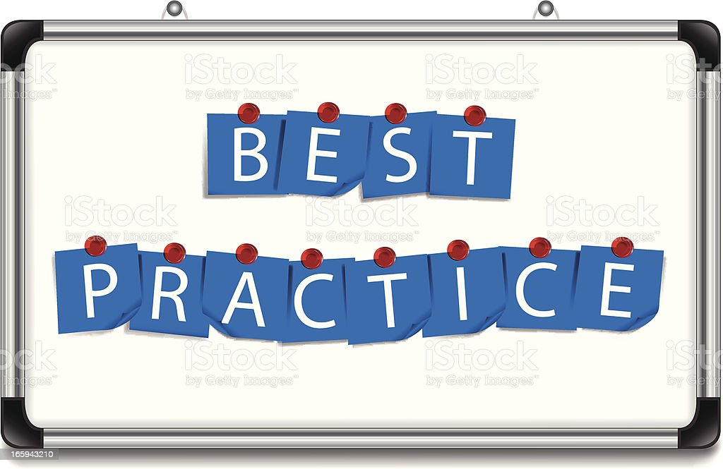 Best Practice | Notes with Magnets on Board royalty-free stock vector art