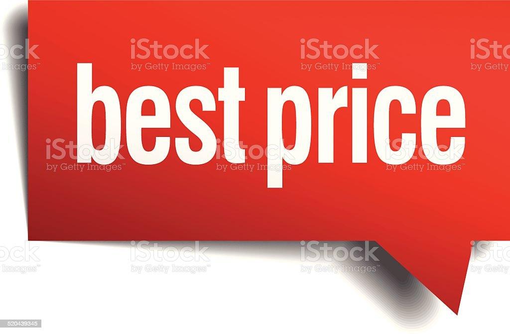 best price red 3d realistic paper speech bubble vector art illustration