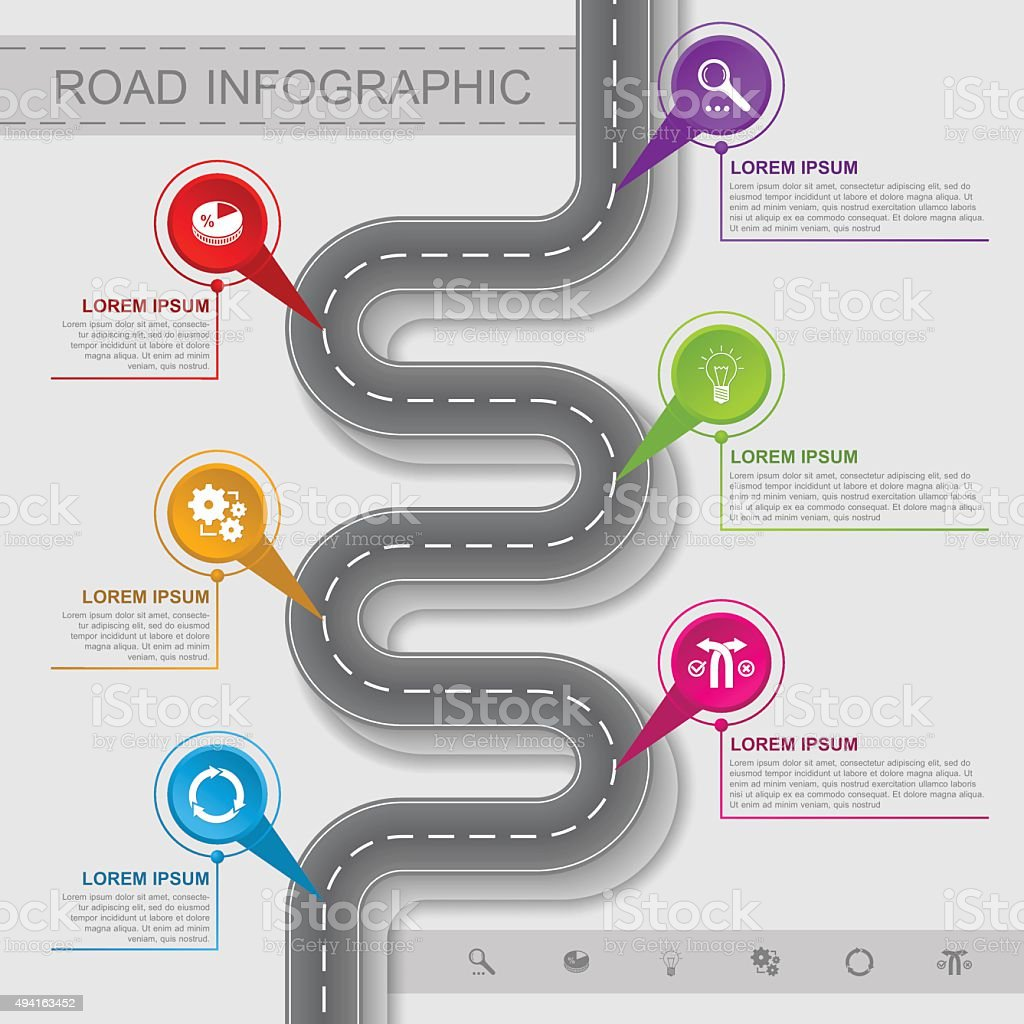 Best road infographic vector art illustration