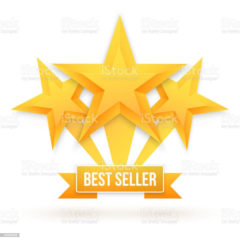 Best Seller Gold Star Vector Background. Top Rating template vector art illustration