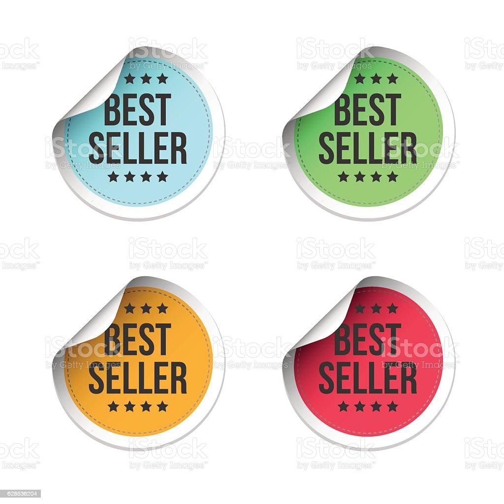 Best Seller Labels vector art illustration