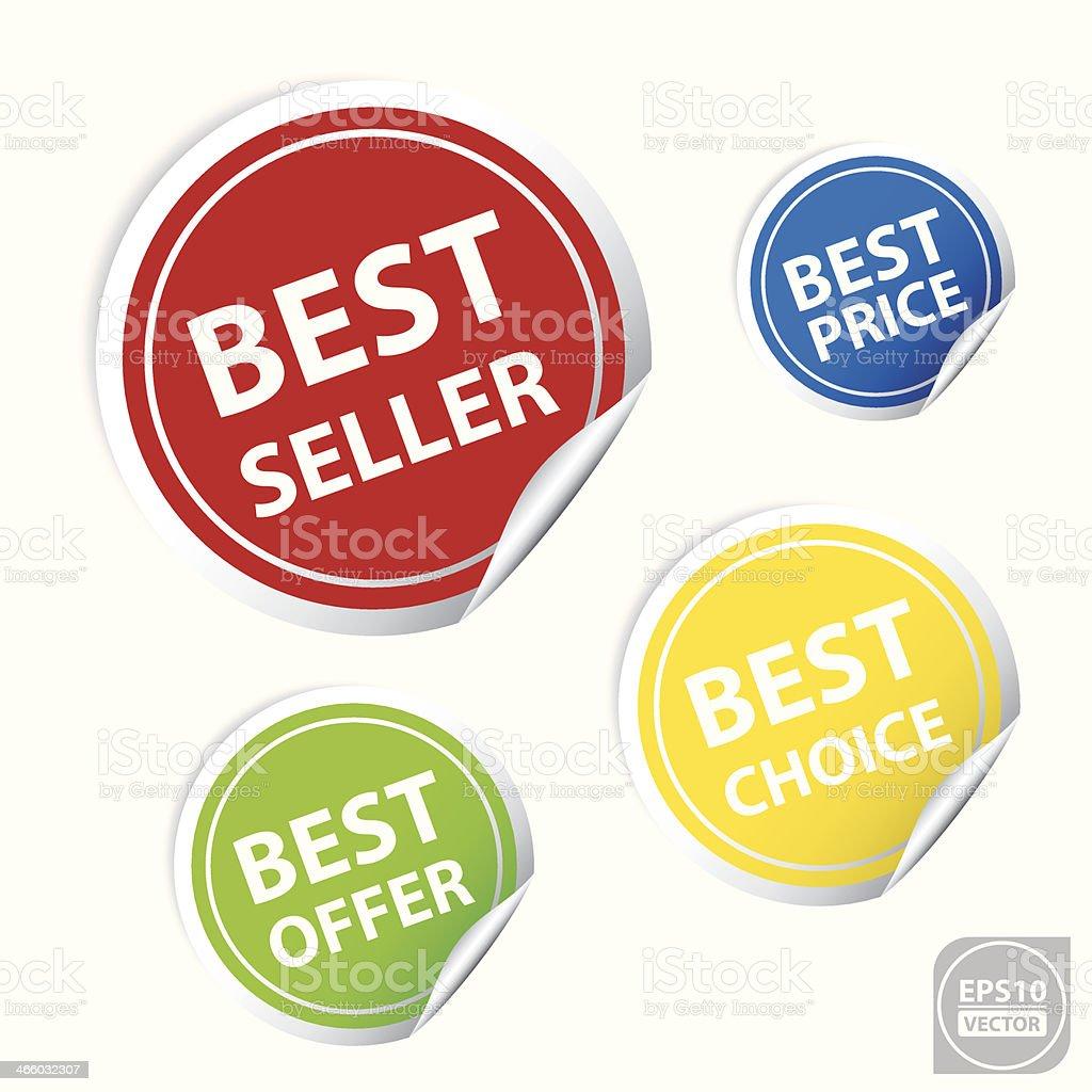 Best Seller Sticker or Sign. vector art illustration