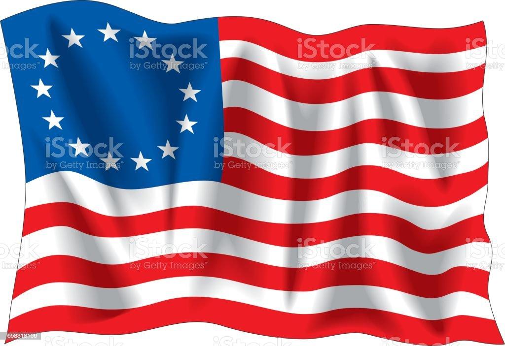 Betsy Ross flag vector art illustration