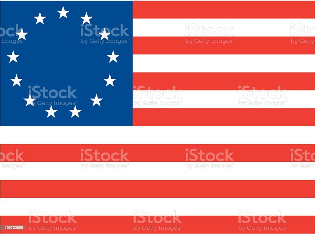 Betsy Ross US Flag royalty-free stock vector art